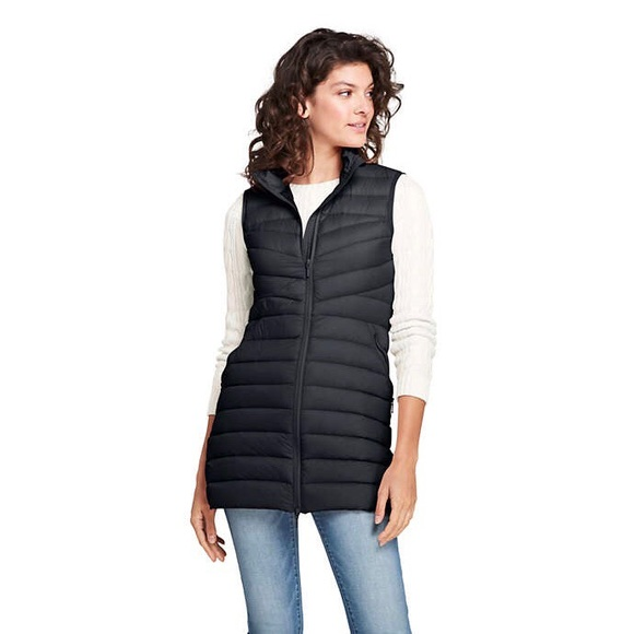1263ab38c1d Women s Ultralight Long Down Puffer Vest Packable. NWT. Lands  End